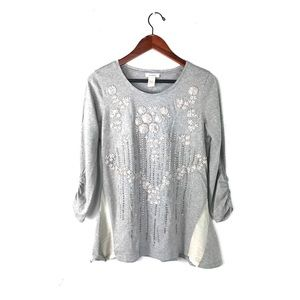 Sundance tunic top embroidered embellished Ruched